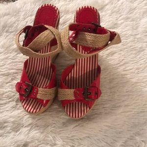 Shoes - Red and rope espadrilles